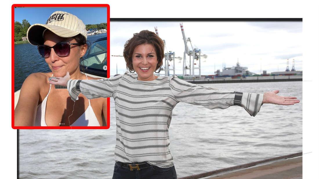 Vanessa Blumhagen lächelt in die Kamera - daneben ist ein Bikini-Bild von ihr zu sehen (Fotomontage)