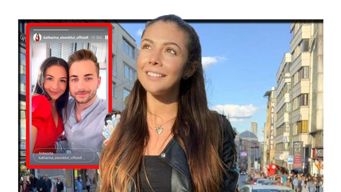 Katharina Eisenblut schaut nach oben - im Hintergrund ist ein gemeinsames Foto mit einem Mann zu sehen (Fotomontage)