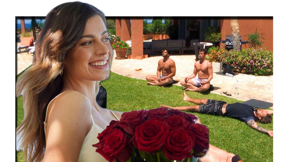 Fotomontage: Die Bachelorette Maxime Herbord vor Kandidaten auf dem Rasen