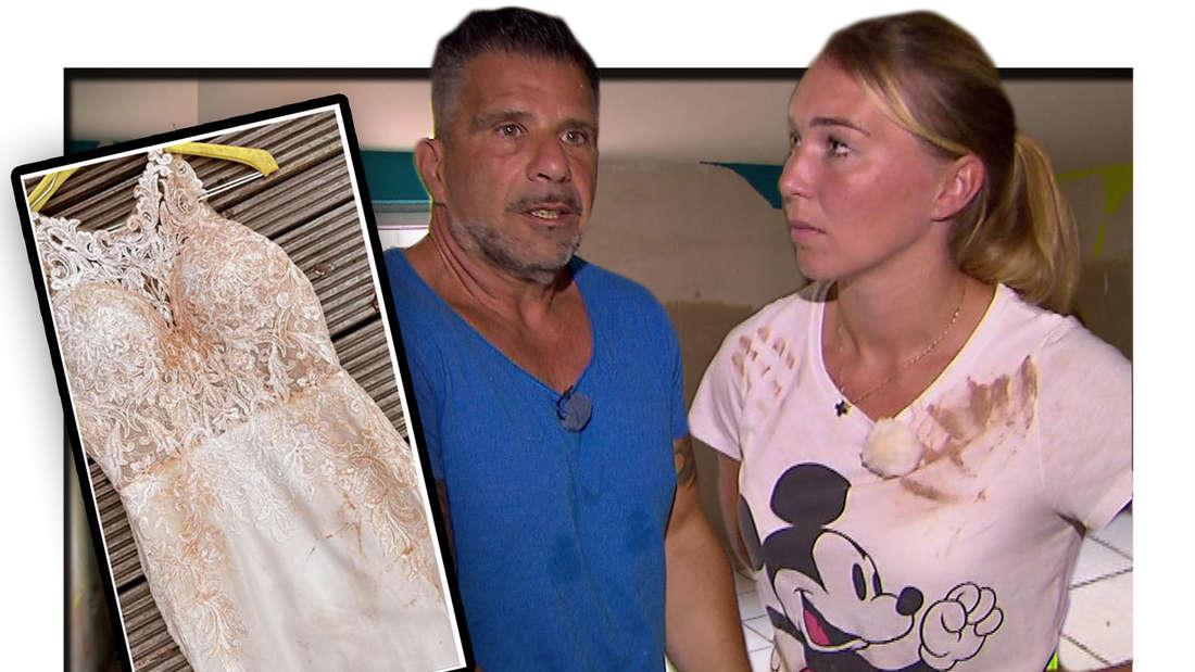 Fotomontage: Marco und Tamara Gülpen stehen im zerstörten Keller, Bild von ruiniertem Hochzeitskleid
