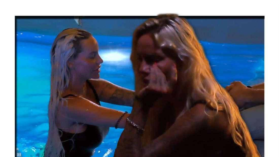 Fotomontage: Im Hintergrund Gina-Lisa im Pool, sie macht sich an Andrej Mangold ran, vorn weint sie