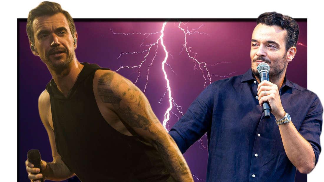 Giovanni Zarrella und Florian Silbereisen schauen sich skeptisch an, zwischen ihnen ein Blitz. (Fotomontage)