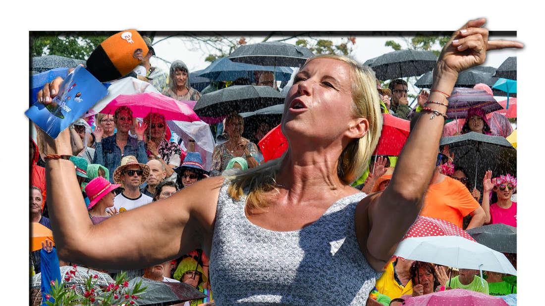 Andrea Kiewel wedelt mit den Händen und neigt ihren Kopf nach oben (Fotomontage)