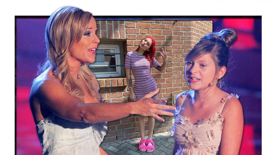 Michelle und marie Reim halten die Hände, im Hintergrund Marie Reim mit buntem Outfit (Fotomontage)