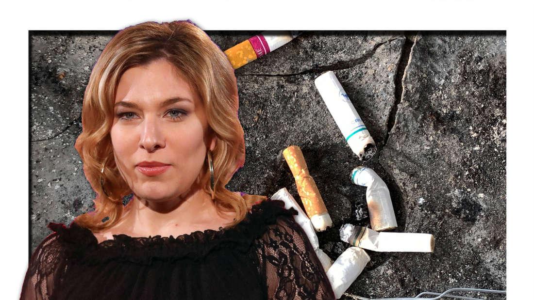 Laura Wilde schaut emotionslos, Zigaretten-Stummel liegen auf dem Boden (Fotomontage)