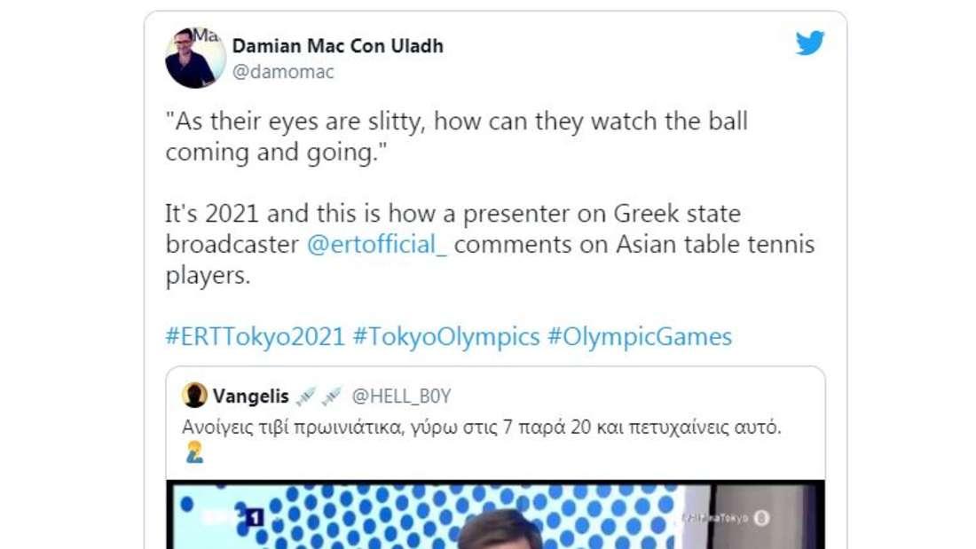 """TV-Reporter Dimosthenis Karmiris sagte: """"Wenn sie Schlitzaugen haben, wie können sie da den Ball kommen sehen?"""""""