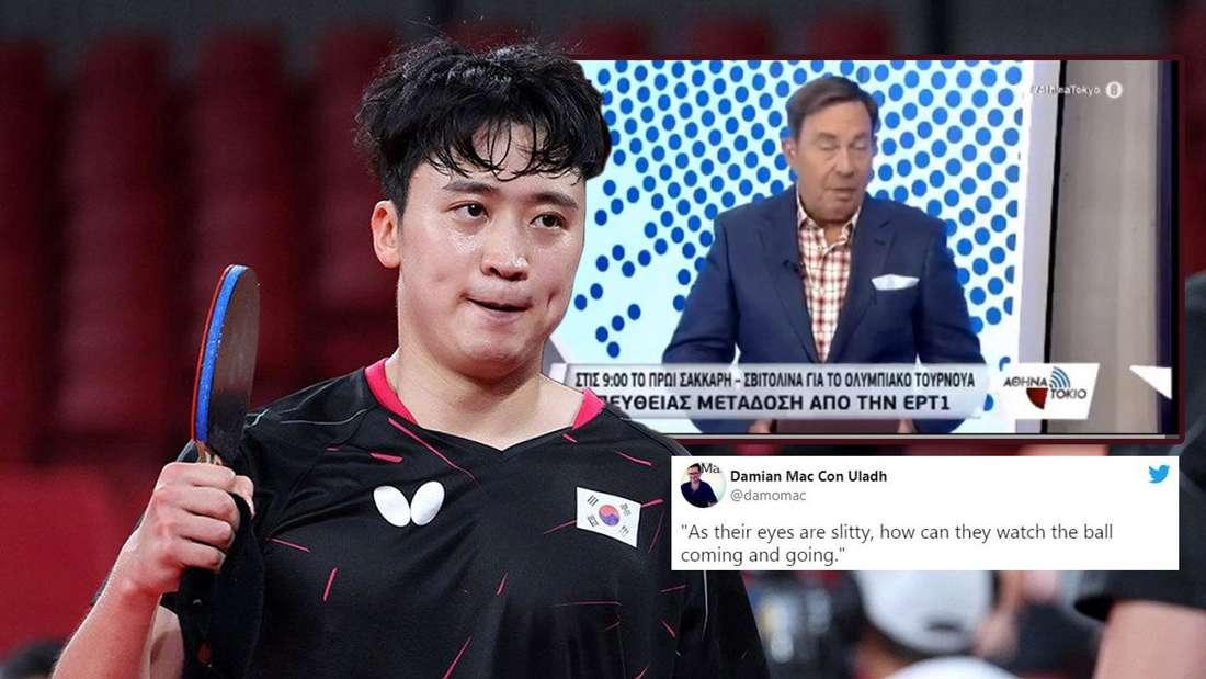 """Beim Spiel zwischen Timo Boll und dem Asiaten Jeoung Young Sik schockierte Reporter Dimosthenis Karmiris die Zuschauer mit einem """"Schlitzaugen""""-Spruch."""