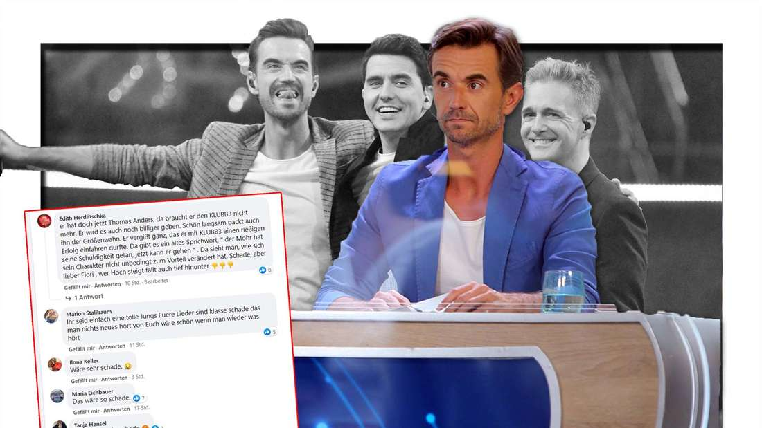Florian Silbereisen sitzt auf seinen Juroren-Platz und schaut ernst, im Hintergrund Klubbb3 feiernd, ein Screenshot aus Facebook. (Fotomontage)