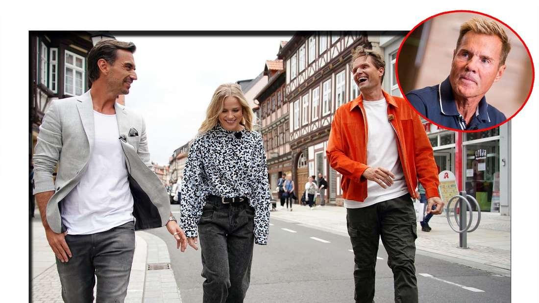 Fotomontage: Die neue DSDS-Jury  Florian Silbereisen, Ilse DeLange und Toby Gad, daneben Dieter Bohlen