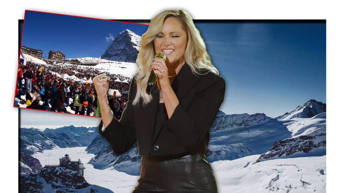 Schlagerstar Helene Fischer steht vor den Bergen im schweizerischen Grindelwald, daneben Zuschauer beim 'Snowpenair' (Fotomontage)