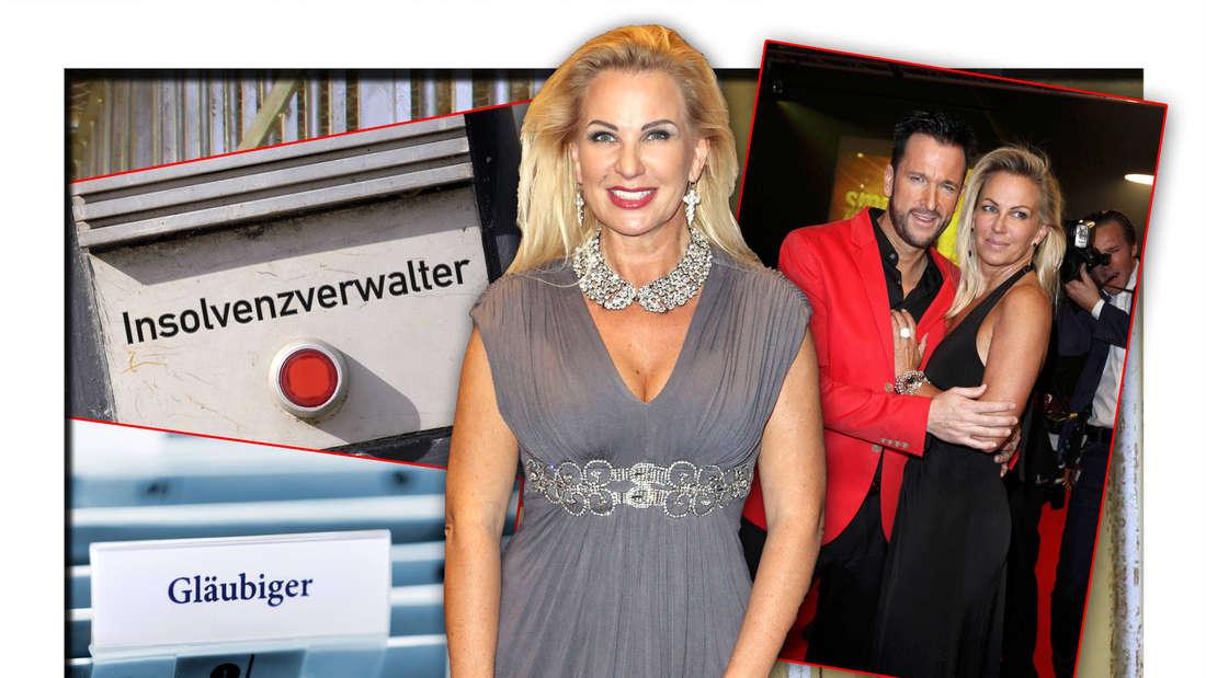 Claudia Norberg steht neben einem Bild mit Exmann und Schlagersänger Michael Wendler vor Symbolbildern zu Insolvenz und Knast (Fotomontage)