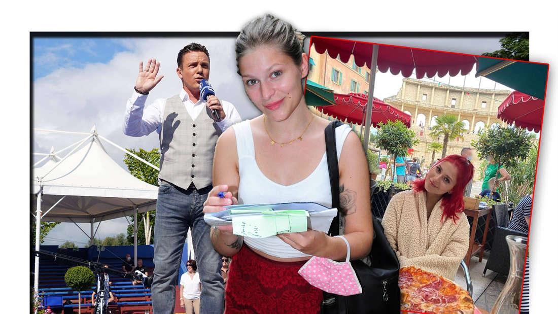"""Schlagersängerin Marie Reim steht vor Stefan Mross bei """"Immer wieder sonntags"""", daneben ein Instagram-Screenshot (Fotomontage)"""