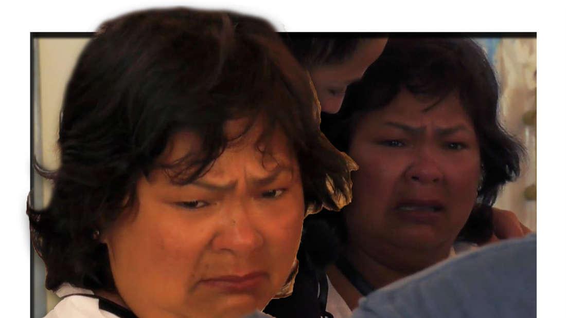 Fotomontage: narumol sieht traurig aus, im Hintergrund weint sie.