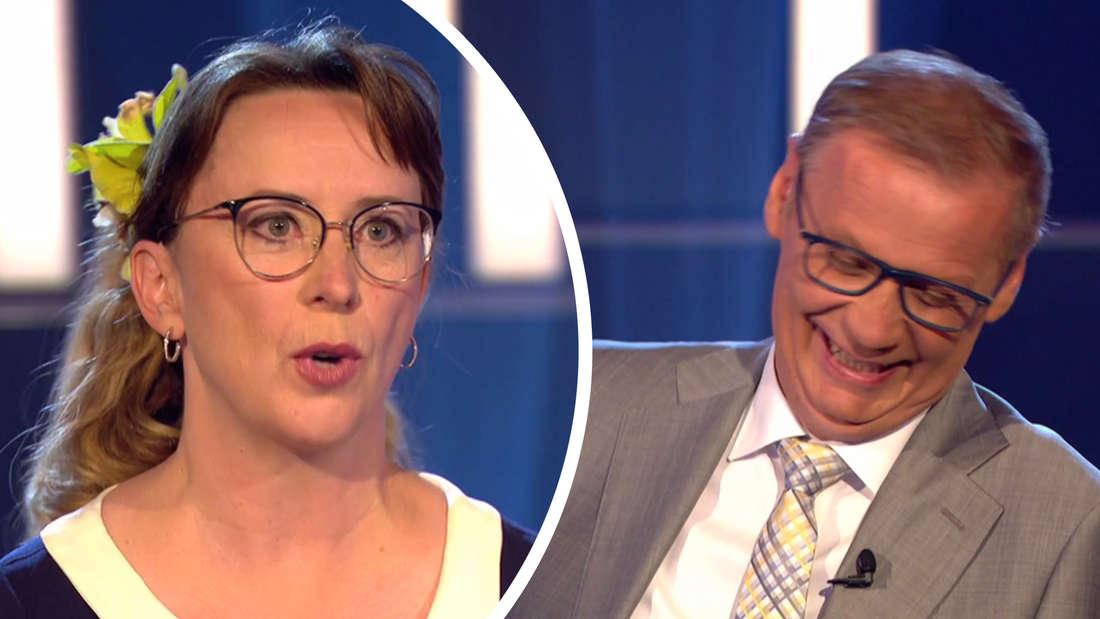 Links die Kandidatin, rechts Günther Jauch