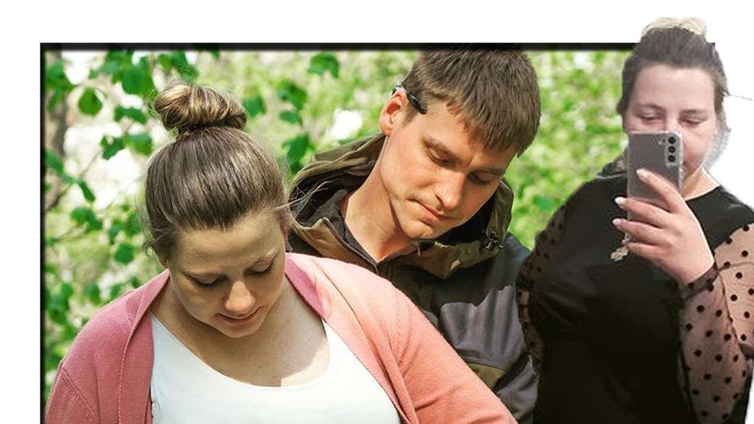 Sarafina Wollny lächelt in die Kamera - im Hintergrund ist sie gemeinsam mit Peter zu sehen (Fotomontage)