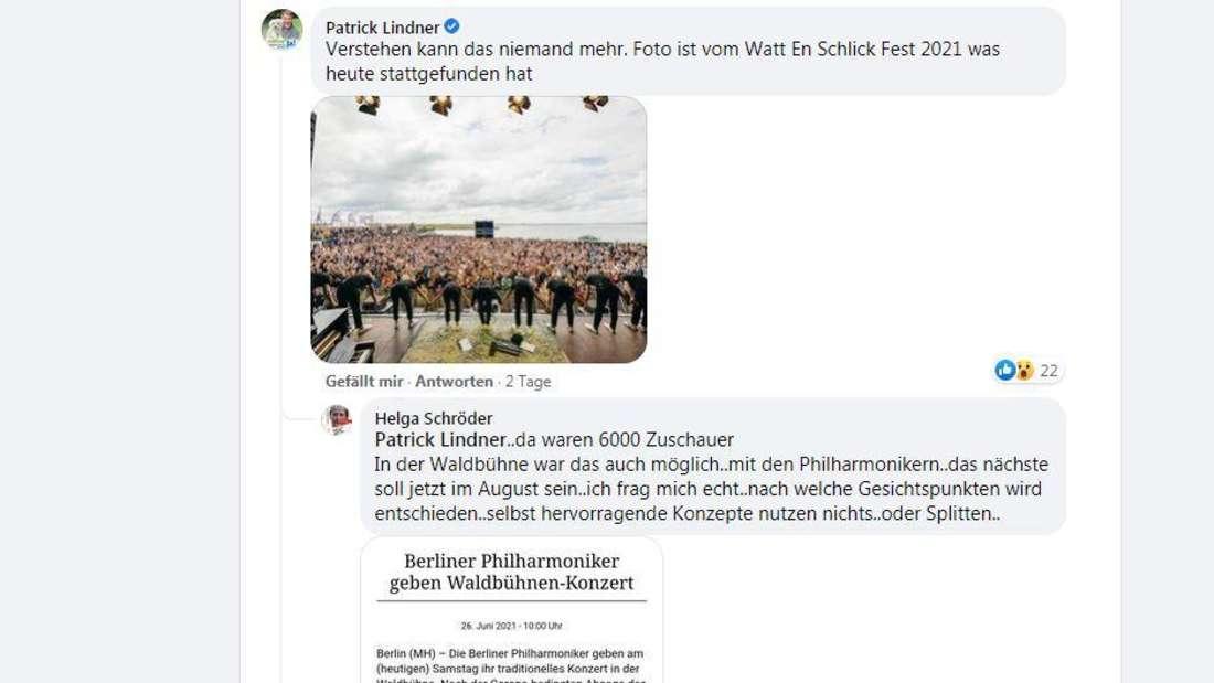 Der Kommentar von Patrick Lindner zu einem Facebookpost von Roland Kaiser
