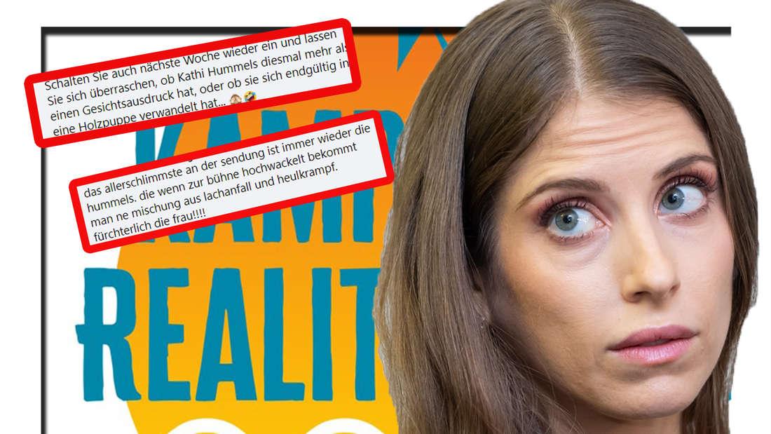 Cathy Hummels schaut in die Kamera - im Hintergrund ist das Logo von Kampf der Realitystars zu sehen (Fotomontage)