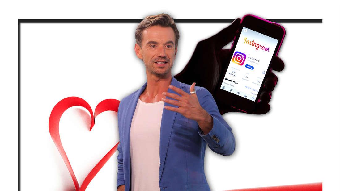 Schlagerstar und DSDS-Juror Florian Silbereisen steht vor einem roten Band, welches ein Herz bildet, und einem Handy mit Instagram-Screen (Fotomontage)