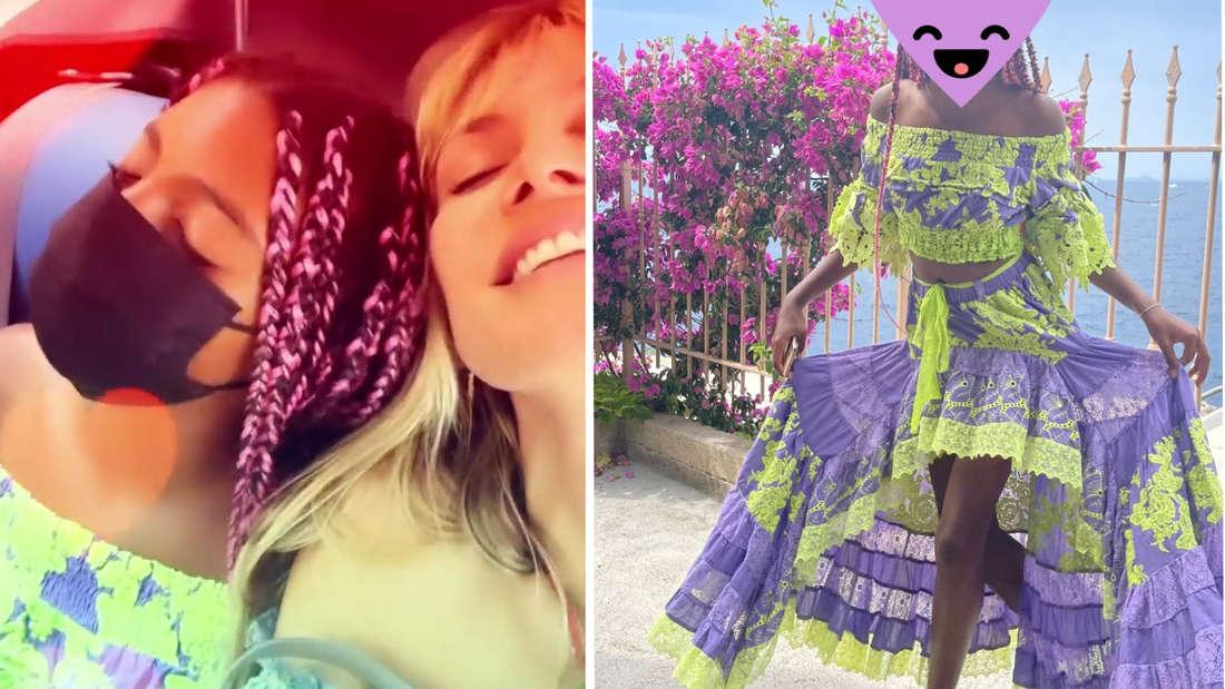 Heidi und Lou beim Kuscheln, rechts: Lou in einem zweiteiligen Kleid