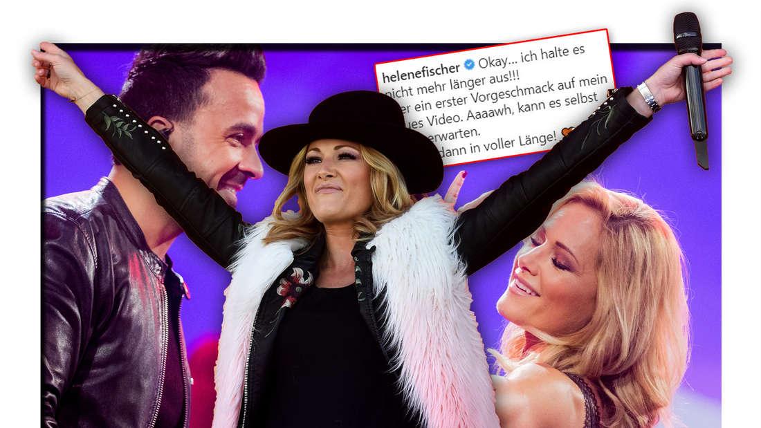 Helene Fischer steht vor einem Foto der Schlagersängerin mit Popstar Luis Fonsi, darüber ein Instagram-Post (Fotomontage)