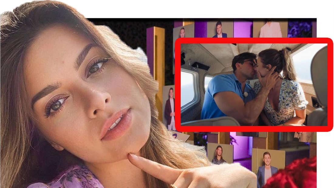 Maxime Herbord schaut in die Kamera - im Hintergrund küsst sie Kandidat Julian (Fotomontage)