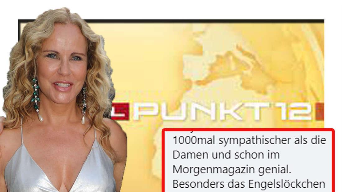 Katja Burkhard schaut in die Kamera - im Hintergrund ist das Punkt12-Logo zu sehen (Fotomontage)