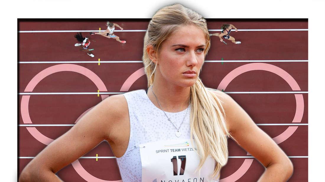 Fotomontage: Alica Schmidt vor Olympia Ringe