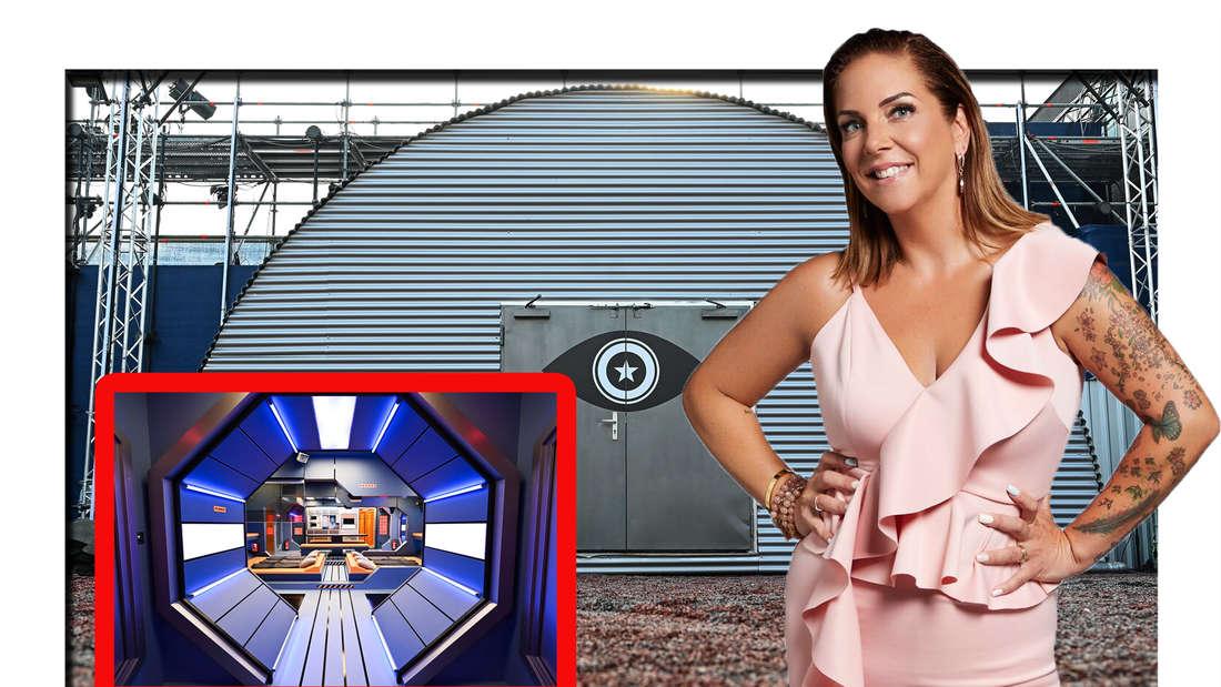 Danni Büchner steht neben dem Promi Big Brother Container (Fotomontage)