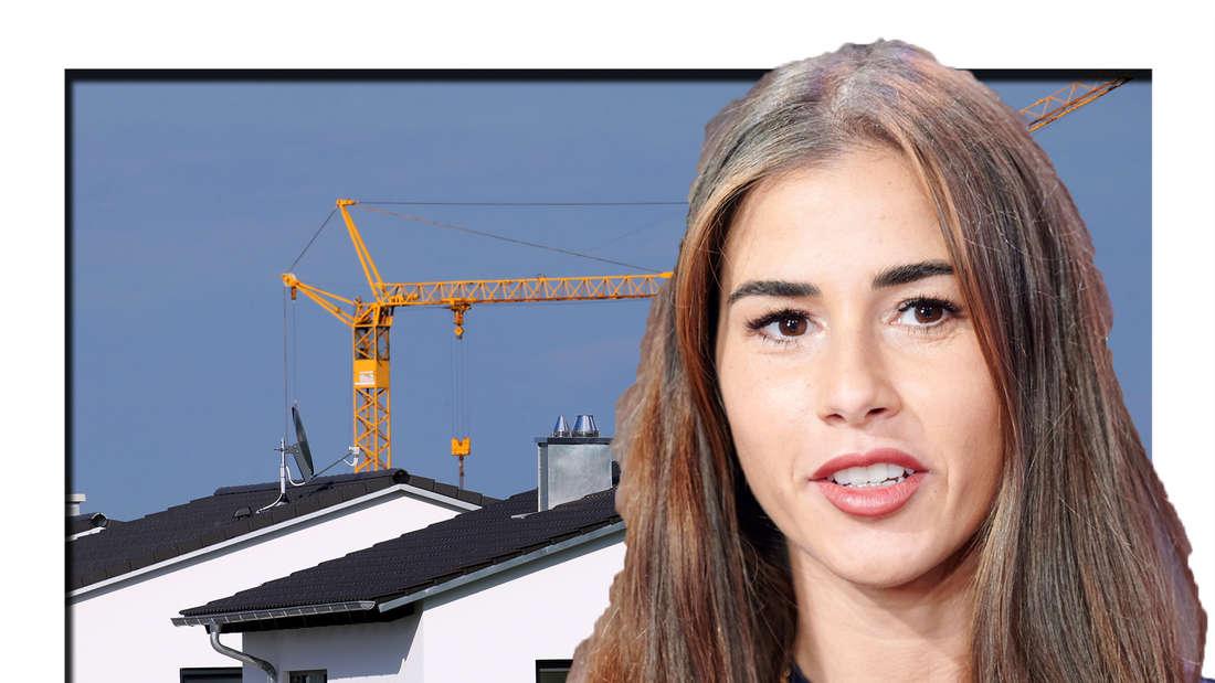 Sarah Engels schaut in die Kamera - dahinter ist ein Haus zu sehen (Fotomontage)