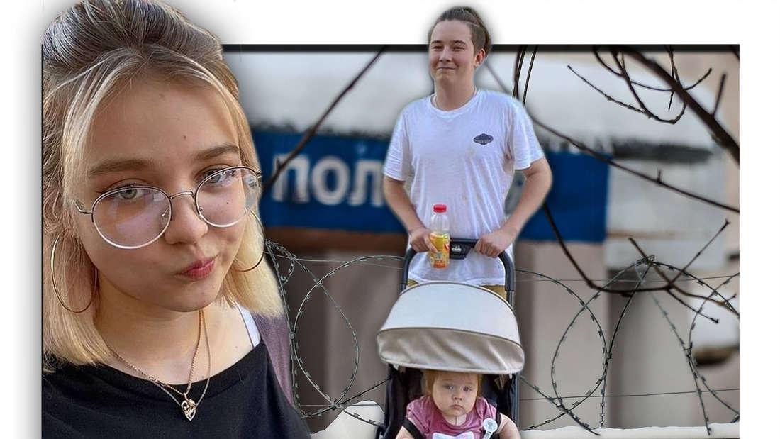 Fotomontage: Darya Sudnishnikova mit Freund und Tochter vor russischer Polizeistation