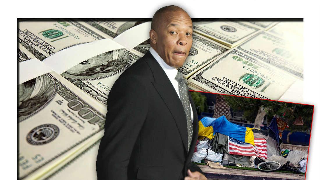 Rap-Legende Dr. Dre steht vor mehreren Geldscheinbündeln, daneben die provisorische Behausung eines Obdachlosen (Fotomontage)