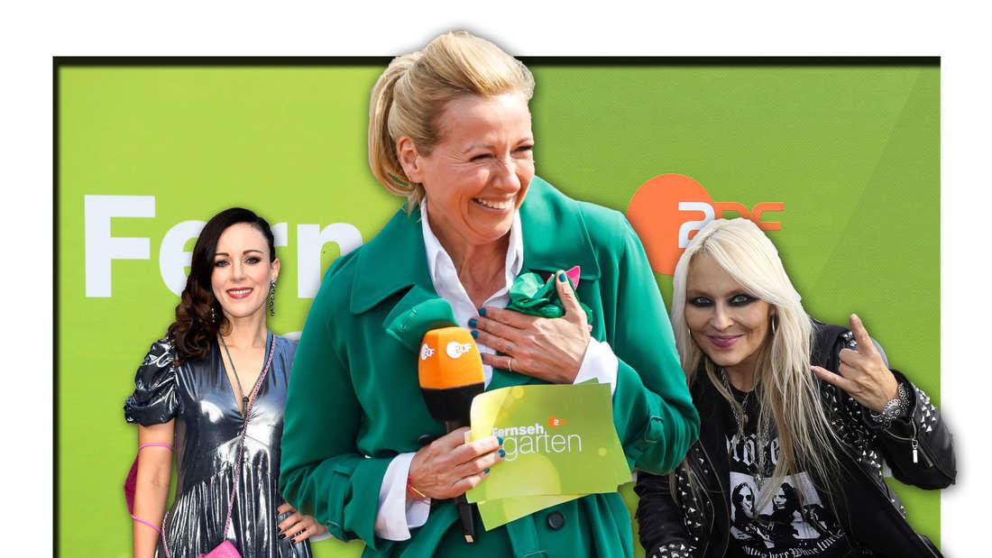 """Andrea Kiewel, Jasmin Wagner (alias Blümchen) und Doro Pesch stehen vor dem Logo des """"ZDF-Fernsehgartens"""" (Fotomontage)"""
