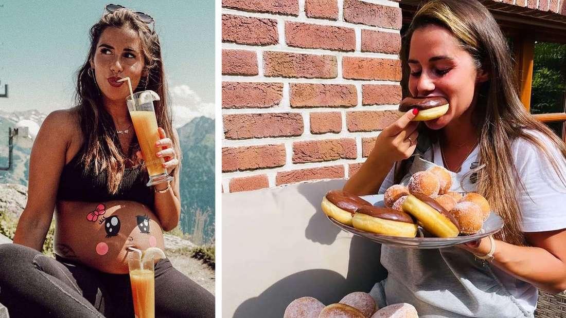 Links trinkt Sarah Engels einen Saft, recht ist sie mit einem Teller Donuts