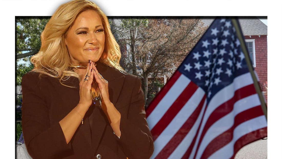 Helene Fischer und amerikanische Flagge