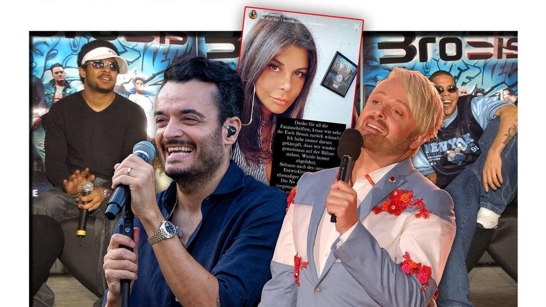 Die Schlagerstars Giovanni Zarrella und Ross Antony stehen vor einem Instagram-Post von Indira Weis, dahinter die Band Bro'Sis (Fotomontage)