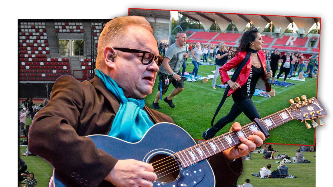 Heinz Rudolf Kunze steht mit einer Gitarre vor Pop- und Schlagersängerin Nena, die bei einem Konzert über den Rasen rennt (Fotomontage)