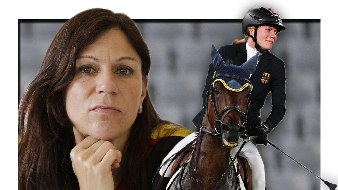 Fotomontage: Kim Raisner und Annika Schleu weinend auf Pferd
