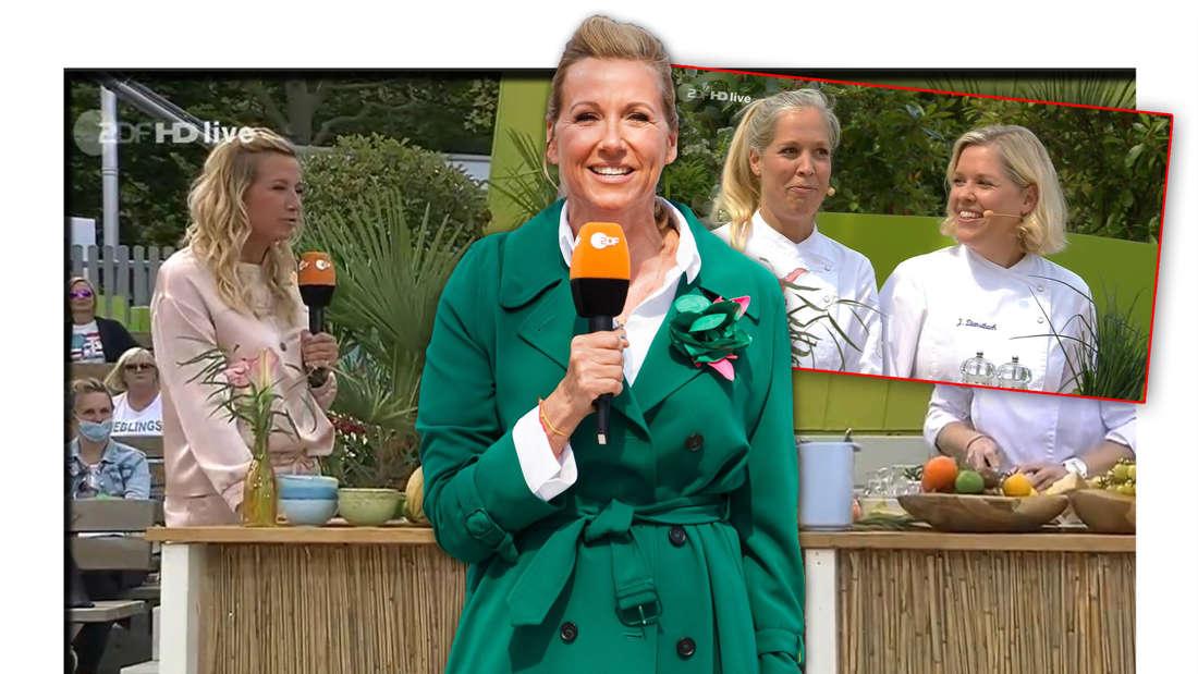 ZDF-Fernsehgarten-Moderatorin Andrea Kiewel steht in der 'Frauenpower'-Sendung vor den Dienstbach-Zwillingen, die dort kochen (Fotomontage)