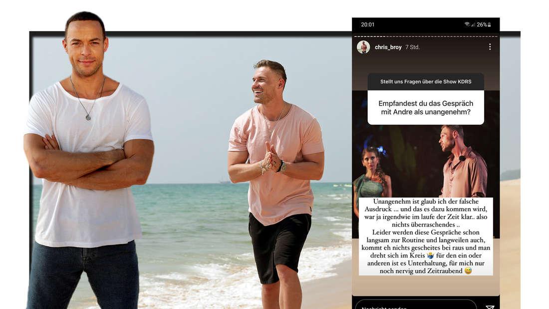 Fotomontage: Andrej Mangold und Chris Broy bei Kampf der Realitystars, davor ein Screenshot von einer Instagramstory von Chris Broy