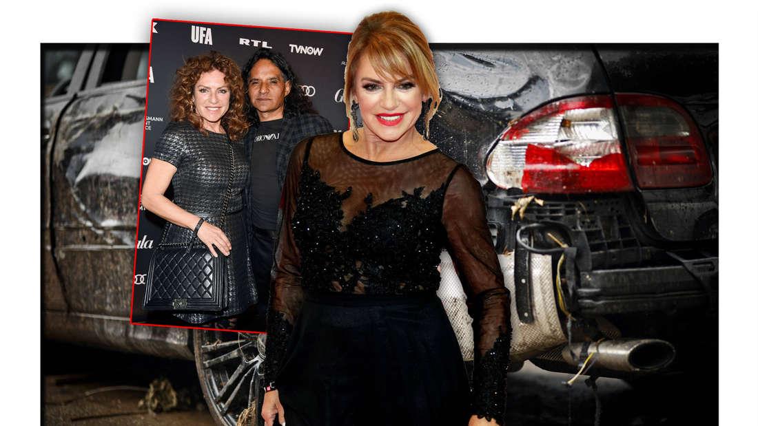 Schauspielerin Christine Neubauer steht vor einem Foto, welches sie mit ihrem Verlobten José Campos zeigt, dahinter ein Autowrack (Fotomontage)