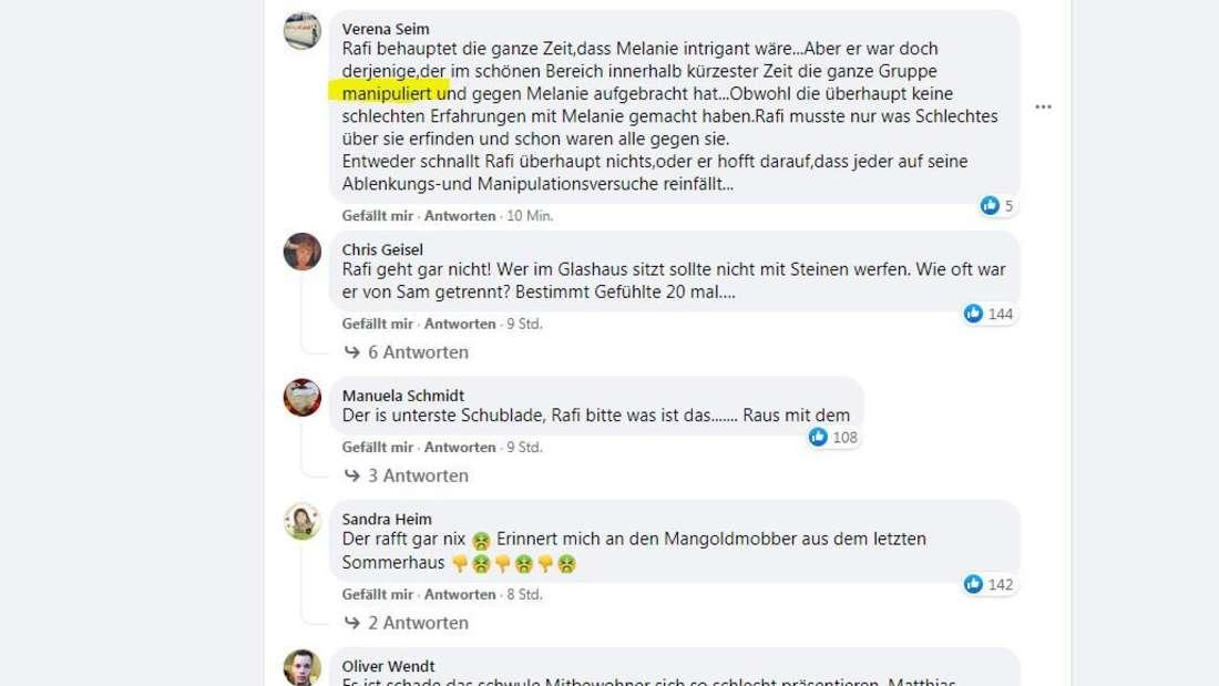 Facebook-Kommentare über Rafi Rachek.