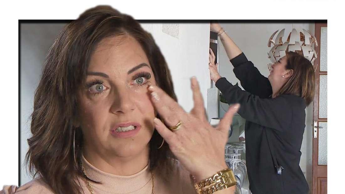 Danni Büchner bricht wegen der Urne von Jens Büchner in Tränen aus. (Fotomontage)