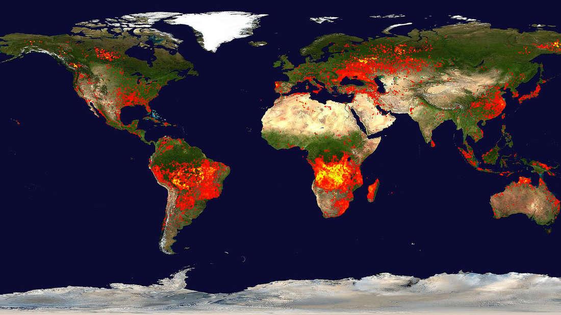 Die Satellitenaufnahmen der NASA zeigen die weltweiten Waldbrände am 8. August 2021.