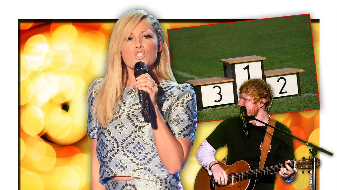 Schlager-Queen Helene Fischer steht vor leuchtendem Hintergrund, daneben Popstar Ed Sheeran und ein Siegertreppchen (Fotomontage)