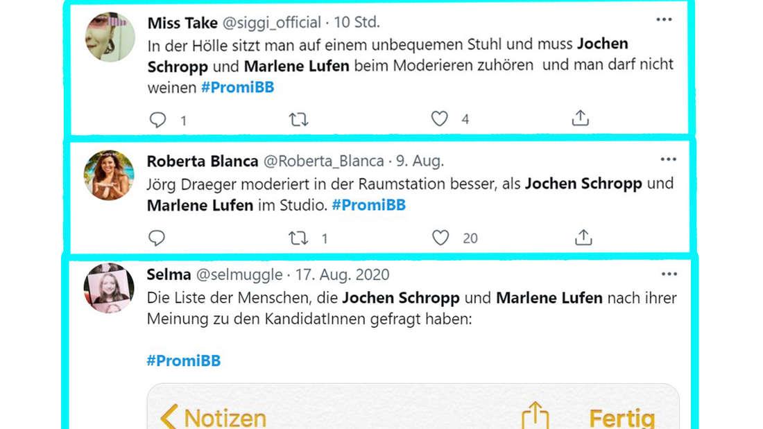 Twitter Kommentare über Marlene Lufen und Jochen Schropp