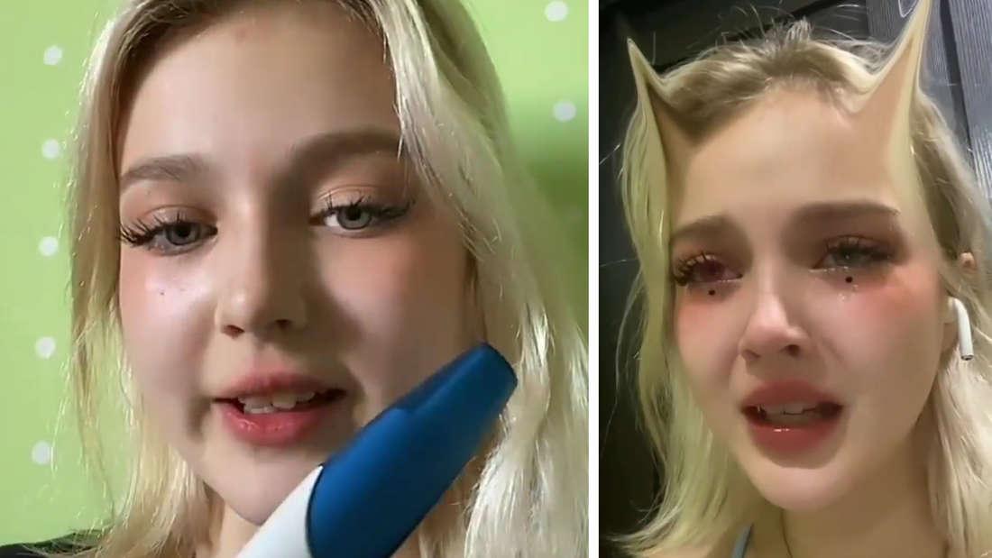 Links zeigt Darya Sudnishnikova den Schwangerschaftstest, rechts ist sie in Tränen
