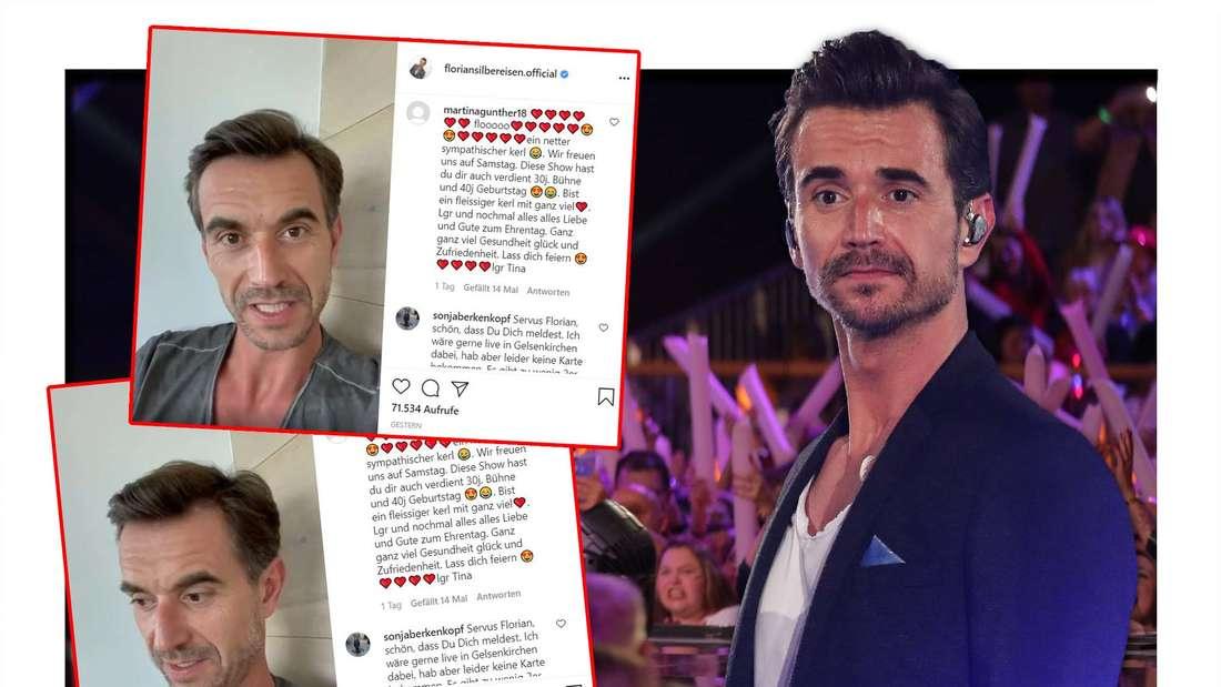 Florian Silbereisen schaut verwirrt, im Hintergrund jubelnde Menschenmassen, Screenshot von Florian Silbereisens Instagram