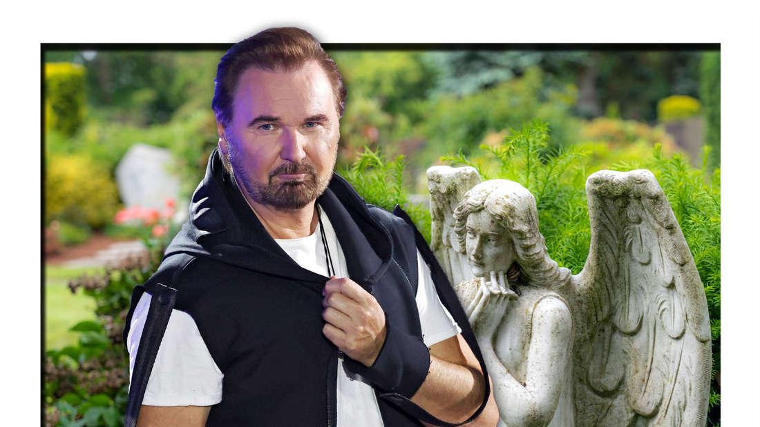 Der österreichische Schlagersänger Nik P. steht vor einem steinernen Engel auf einem Friedhof (Fotomontage)