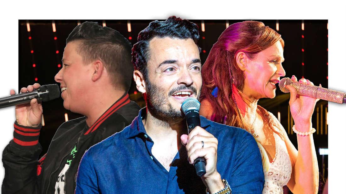 Die Schlagerstars Giovanni Zarrella, Kerstin Ott und Andrea Berg vor dem Berliner Velodrom (Fotomontage)