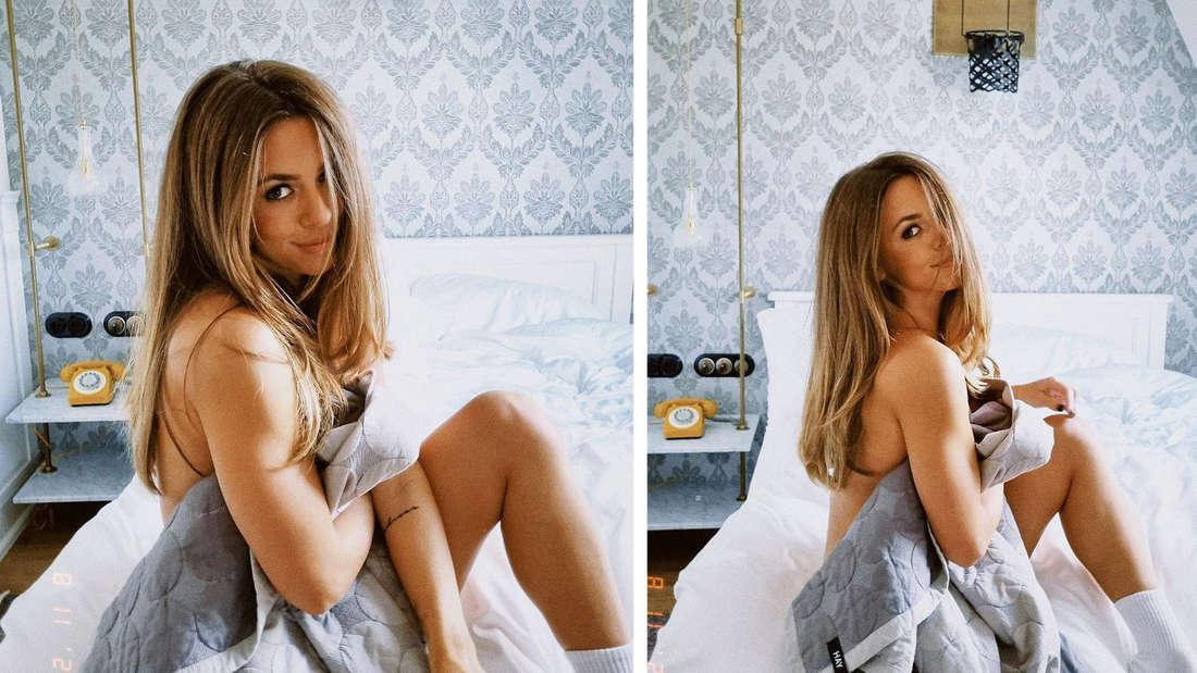 Zwei Bilder von Vanessa Mai, sie ist nur mit einer Decke bedeckt.